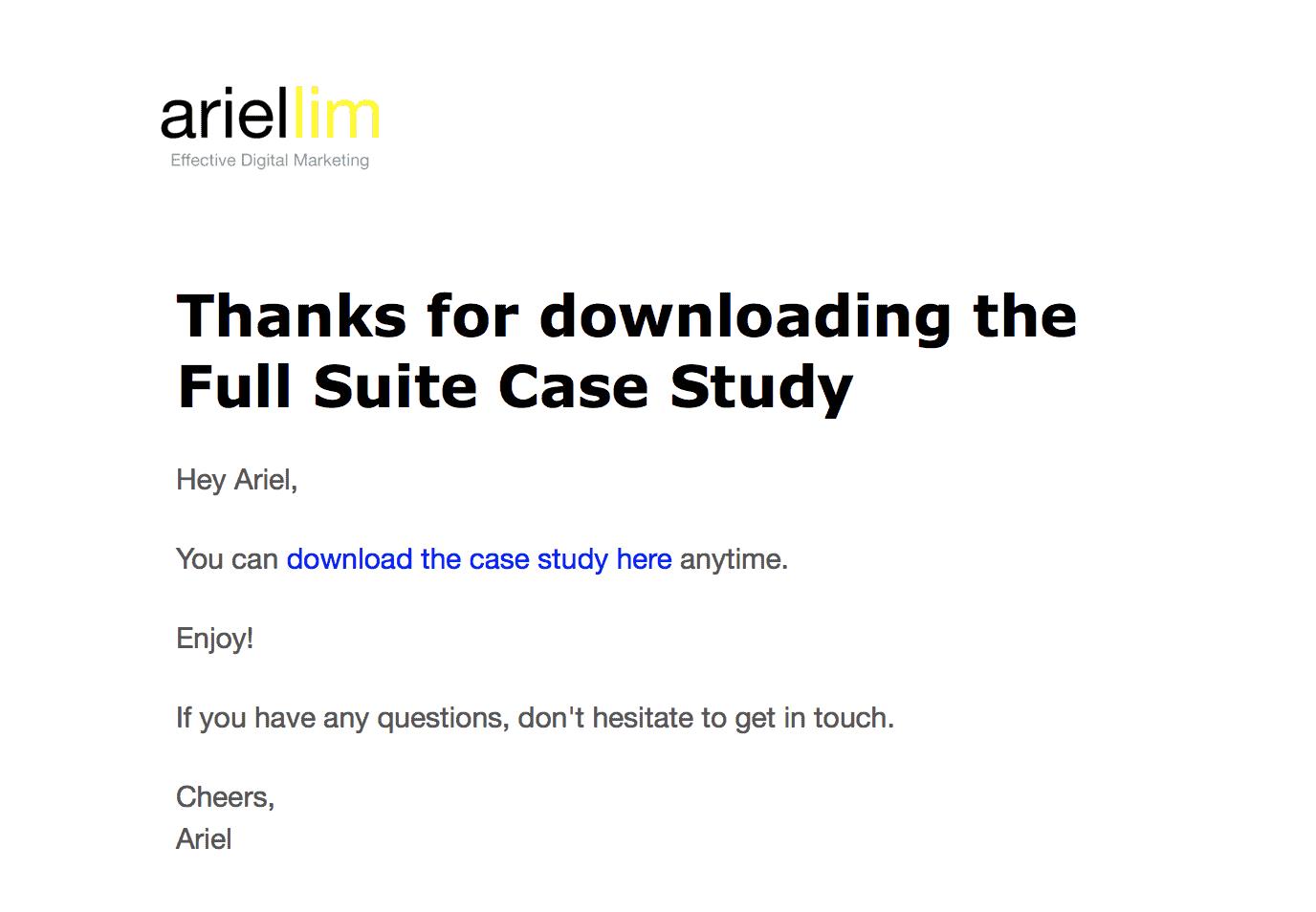 Sample autoresponder email on ariel-lim.com