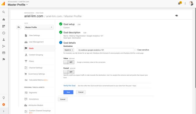Google Analytics Goals: Details