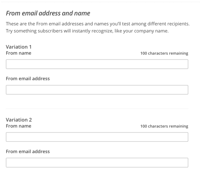 A/B Test From Name Using MailChimp: Enter Names You Want to Test