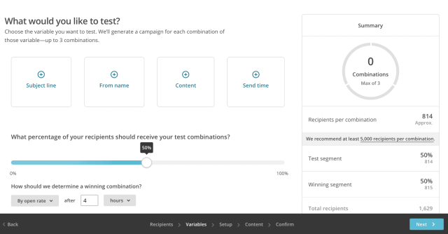 A/B Test From Name Using MailChimp: Choose From Name Variable