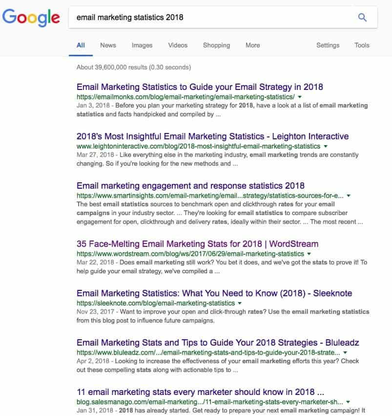 Google Search Email Marketing Statistics 2018