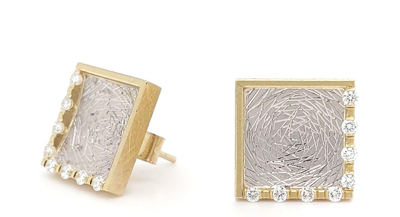 Modern gold and diamond earrings by Geoffrey Giles
