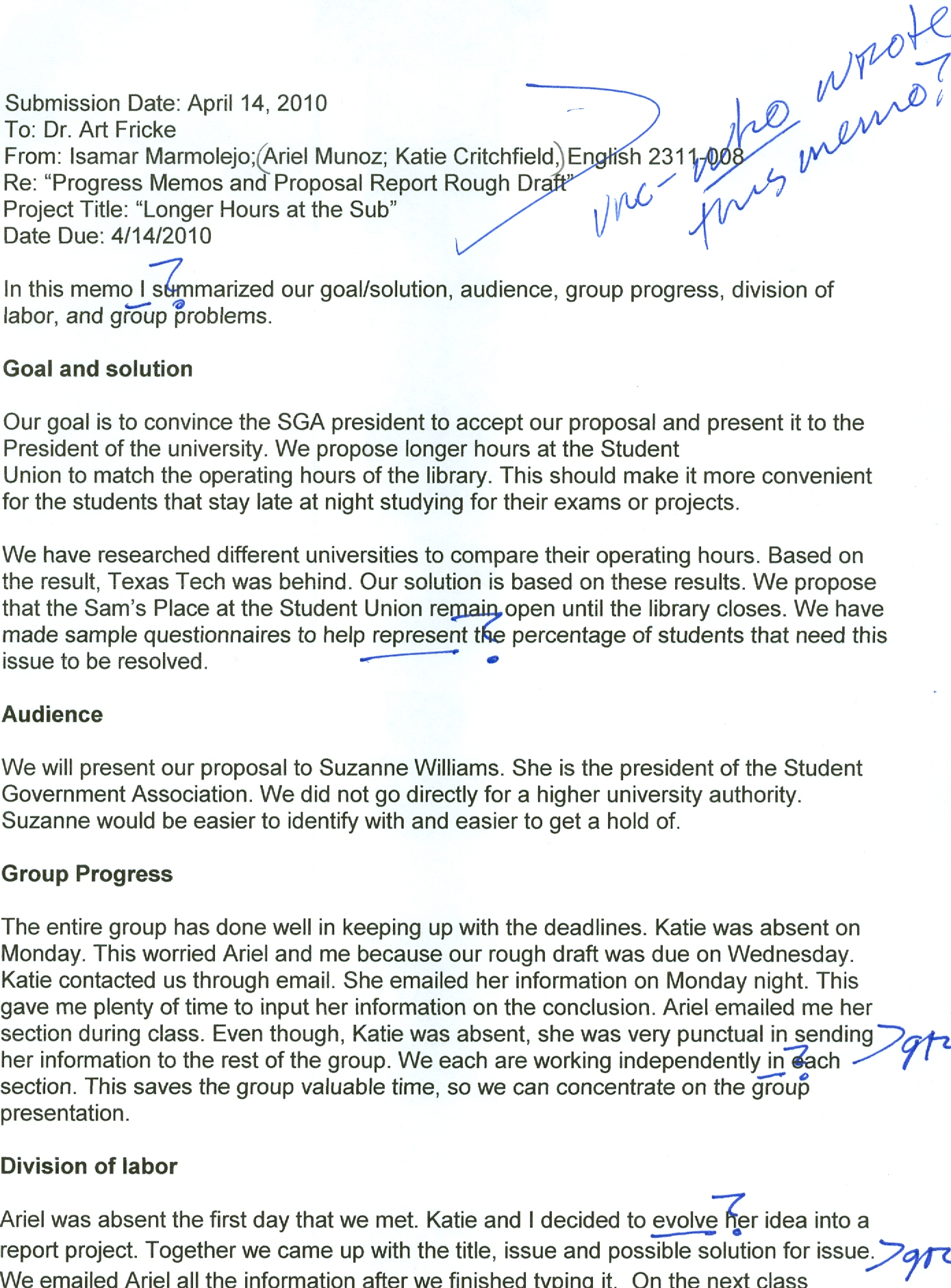 Progress Memos And Proposal Report Rough Draft Ariel's Blog