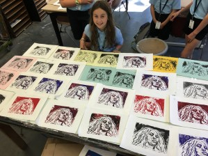 Simone with her many Beyonce Linocuts