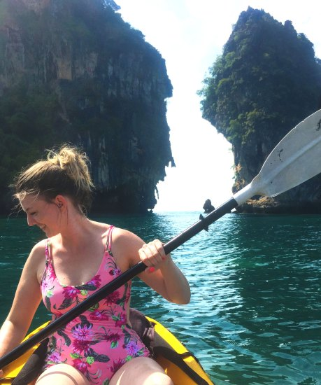 Devon kayaking through caves and crags
