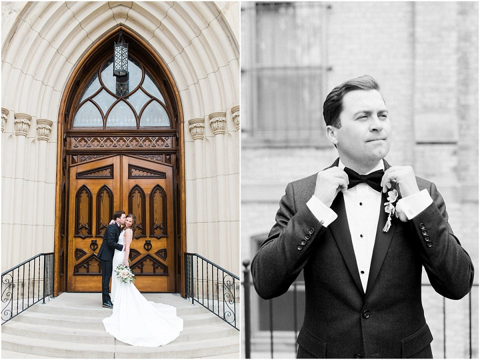 Arielle Peters Photography | Bride and groom kissing in front of cathedral doors on wedding day at the Basilica of the Sacred Heart in Notre Dame, Indiana.