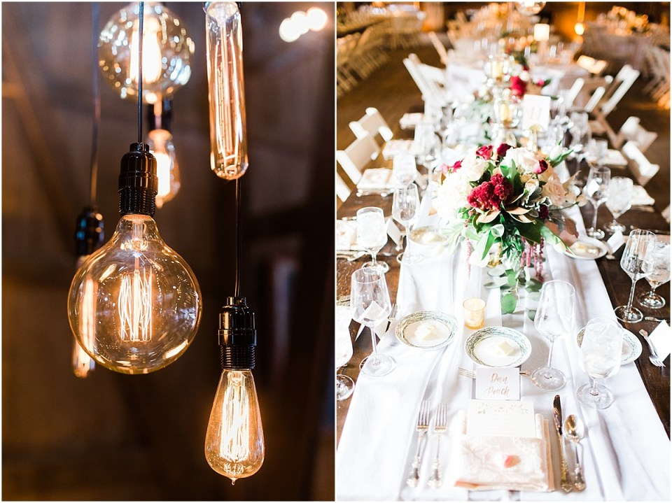 Arielle Peters Photography | Barn wedding reception table settings and floral arrangements on wedding day at St. Joseph's Farm in Granger, Indiana.