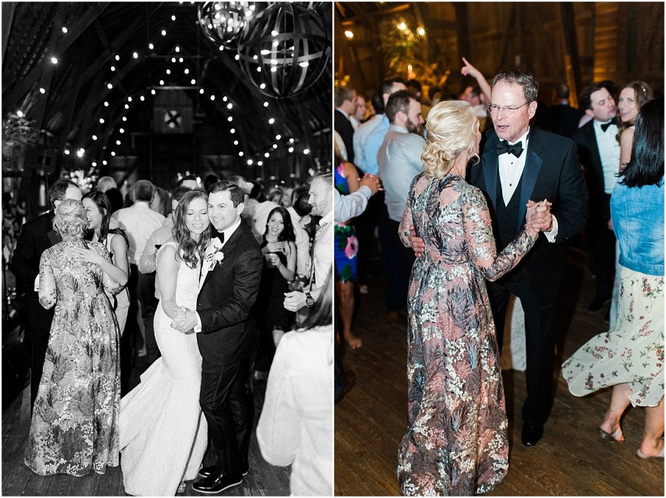 Arielle Peters Photography | Wedding guests dancing at wedding reception on wedding day at St. Joseph's Farm in Granger, Indiana.