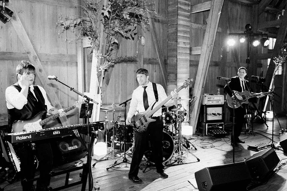 Arielle Peters Photography | Wedding band playing at wedding reception on wedding day at St. Joseph's Farm in Granger, Indiana.