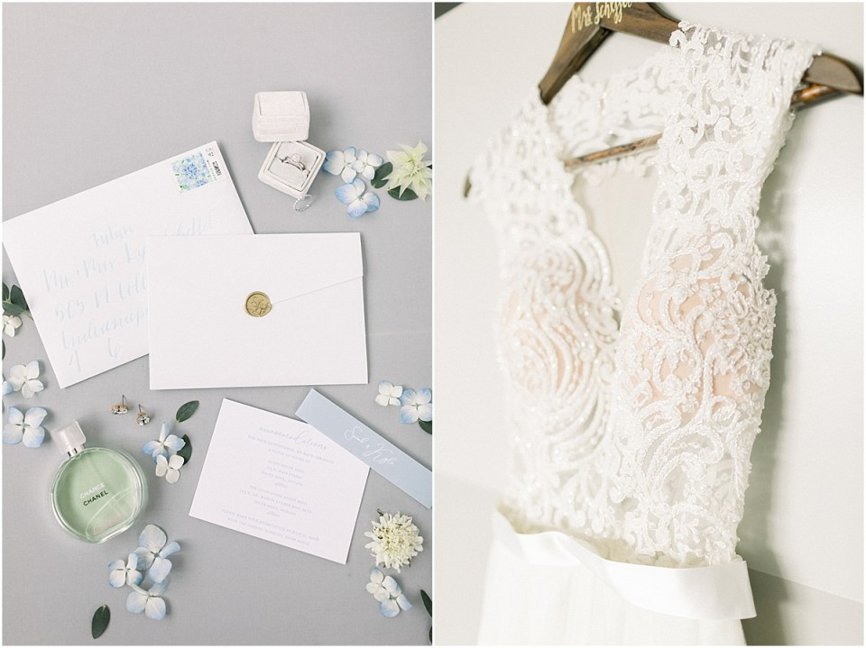 Arielle Peters Photography | Wedding gown hanging The Blue Heron at Blackthorn in South Bend, Indiana on wedding day.