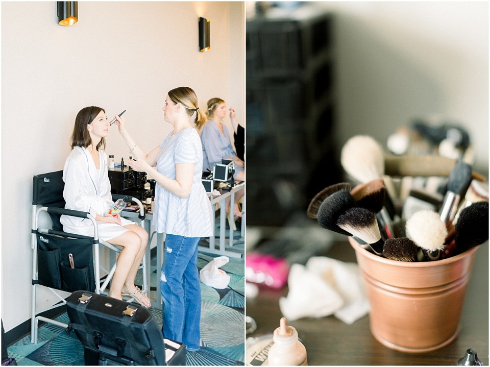 Arielle Peters Photography | Bride getting her makeup done on her wedding day at The Blue Heron at Blackthorn in South Bend, Indiana on wedding day.