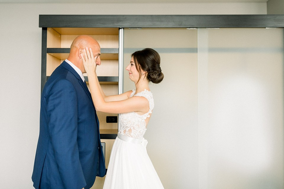 Arielle Peters Photography | Father of the bride having first reveal of bride at The Blue Heron at Blackthorn in South Bend, Indiana on wedding day.