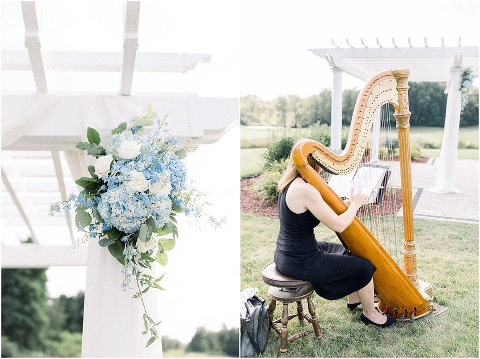 Arielle Peters Photography   Harp player at outdoor wedding at The Blue Heron at Blackthorn in South Bend, Indiana on wedding day.