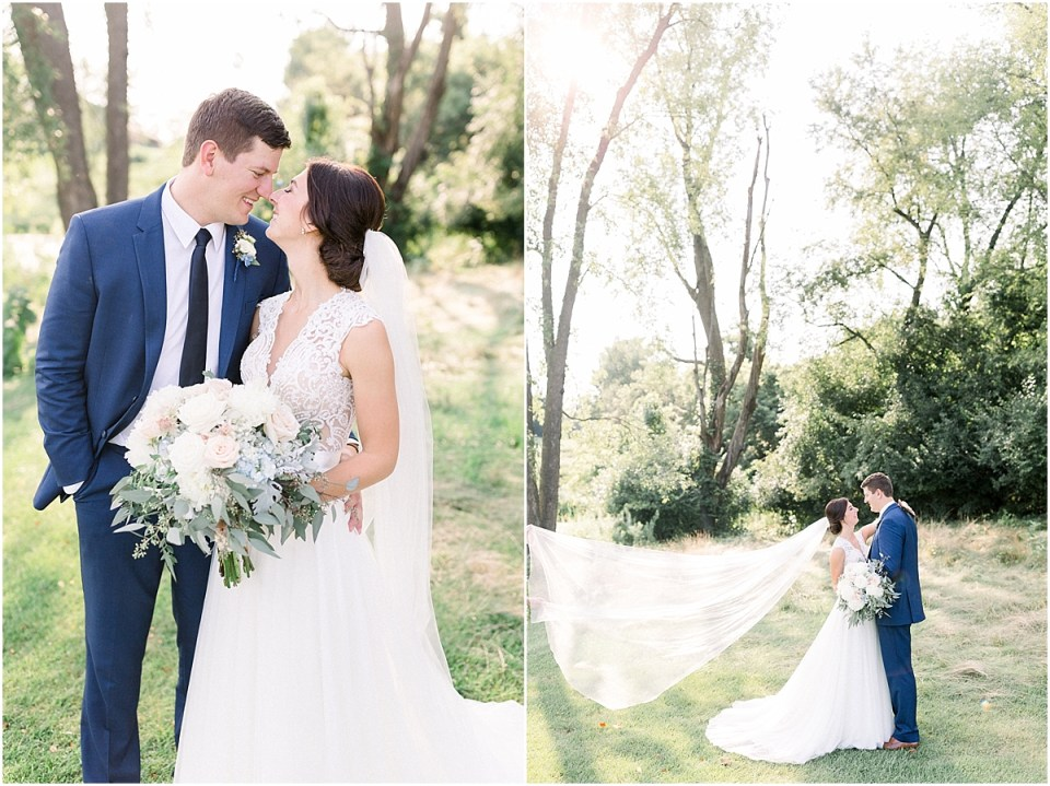 Arielle Peters Photography   Bride and groom kissing with veil flowing outside at The Blue Heron at Blackthorn in South Bend, Indiana on wedding day.