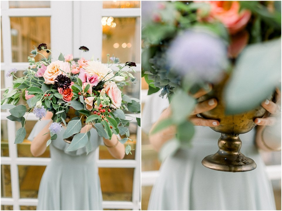Arielle Peters Photography | Wedding reception floral arrangements at Sycamore Hills Golf Club in Fort Wayne, Indiana on wedding day.
