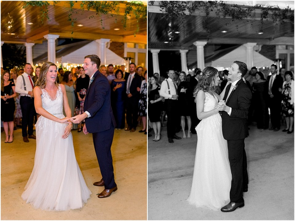 Arielle Peters Photography | Bride and groom sharing first dance at wedding reception at Sycamore Hills Golf Club in Fort Wayne, Indiana on wedding day.