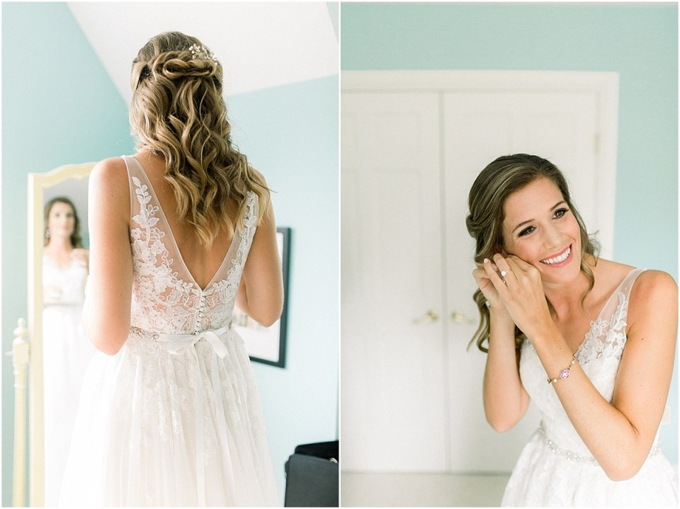 Arielle Peters Photography | Bride in wedding gown putting on wedding jewelry at Sycamore Hills Golf Club in Fort Wayne, Indiana on wedding day.