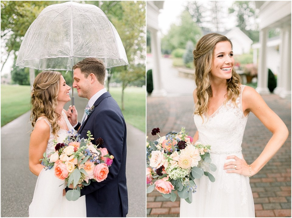 Arielle Peters Photography | Bride and groom smiling under umbrella on wedding day at Sycamore Hills Golf Club in Fort Wayne, Indiana.