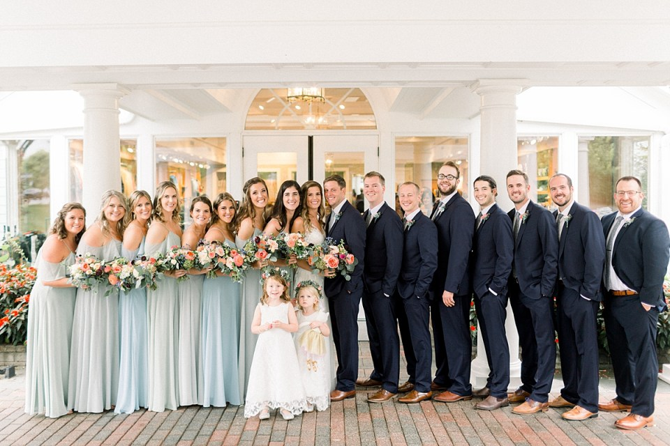 Arielle Peters Photography | Wedding party smiling outside on wedding day at Sycamore Hills Golf Club in Fort Wayne, Indiana.