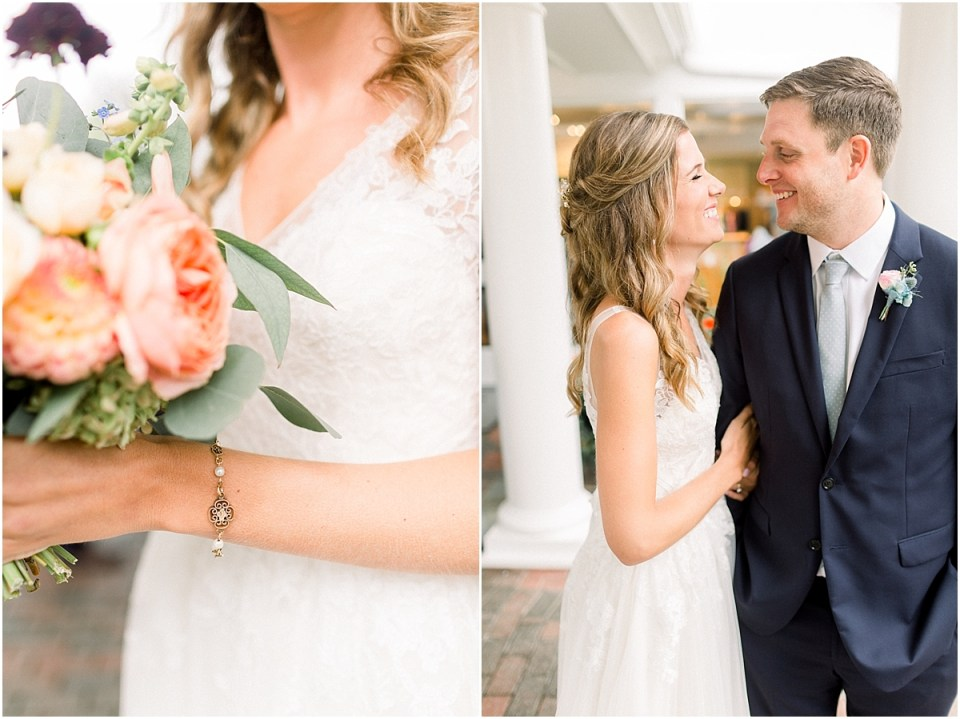 Arielle Peters Photography | Bride and groom laughing outside on wedding day at Sycamore Hills Golf Club in Fort Wayne, Indiana.