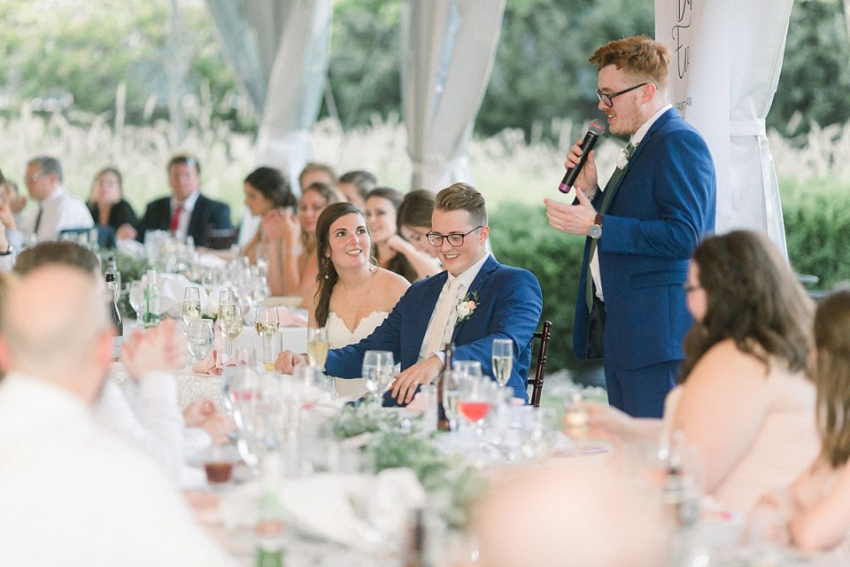 Arielle Peters Photography | Best man giving a speech at the wedding reception at The Bridgewater Club in Carmel, Indiana on wedding day.