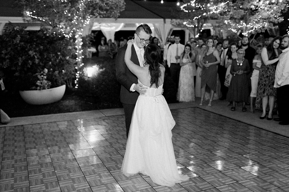 Arielle Peters Photography | Bride and groom sharing their first dance at wedding reception at The Bridgewater Club in Carmel, Indiana on wedding day.