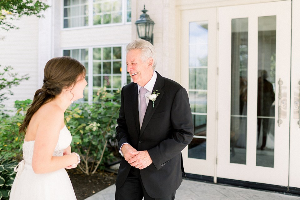 Arielle Peters Photography | Father of the bride and bride having first reveal at The Bridgewater Club in Carmel, Indiana on wedding day.