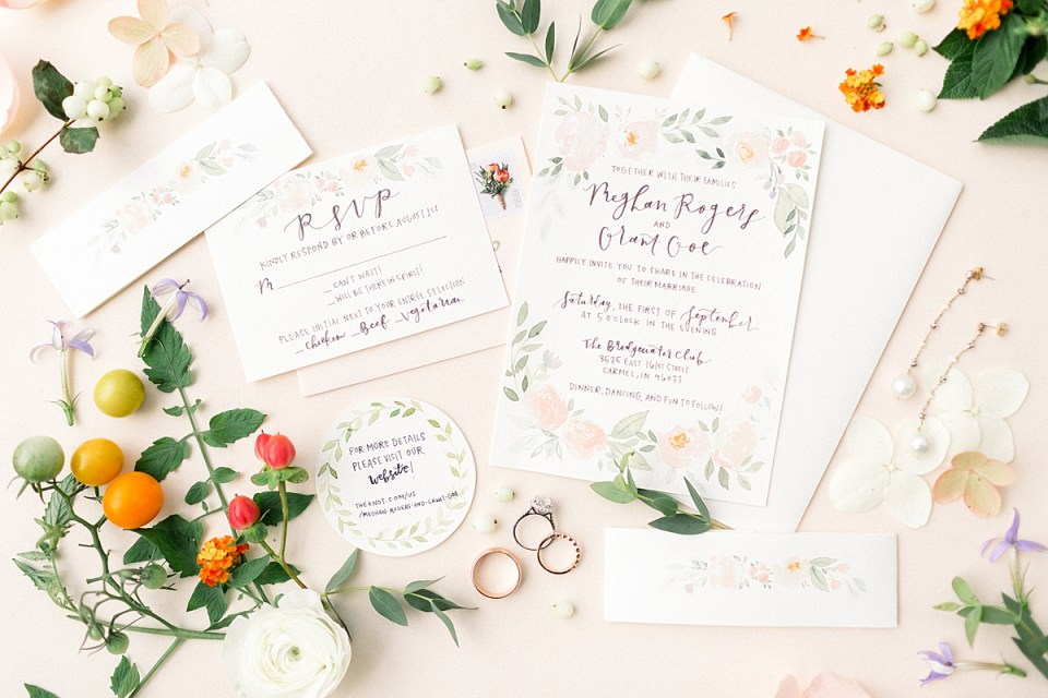 Arielle Peters Photography | Wedding invitations and florals at The Bridgewater Club in Carmel, Indiana on wedding day.