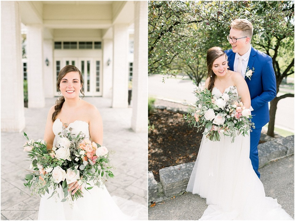Arielle Peters Photography | Bride and groom smiling outside at The Bridgewater Club in Carmel, Indiana on wedding day.