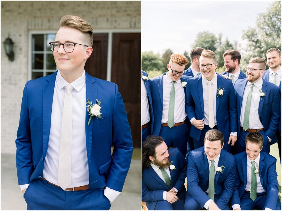 Arielle Peters Photography | Groom and groomsmen smiling at each other outside at The Bridgewater Club in Carmel, Indiana on wedding day.