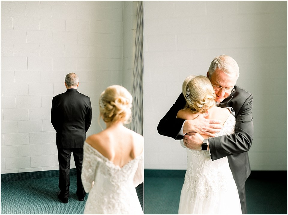 Arielle Peters Photography | Father of the bride getting first look at bride on her wedding day.