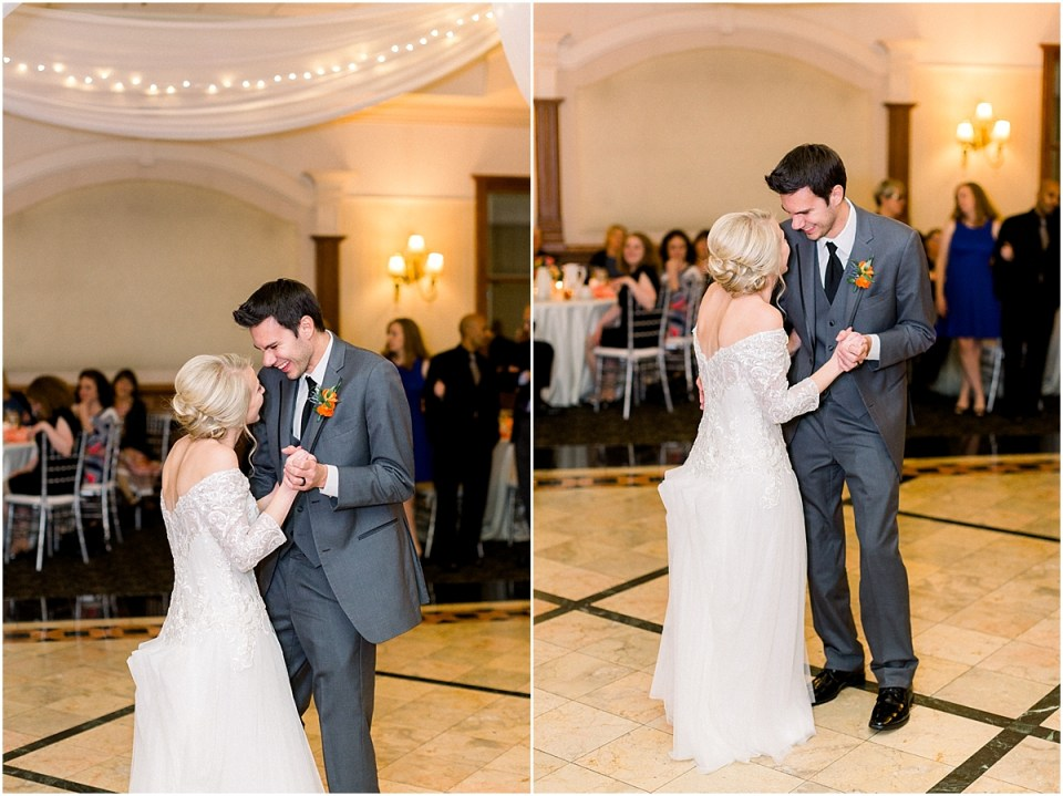 Arielle Peters Photography | Bride and groom sharing their first dance at fall wedding reception.