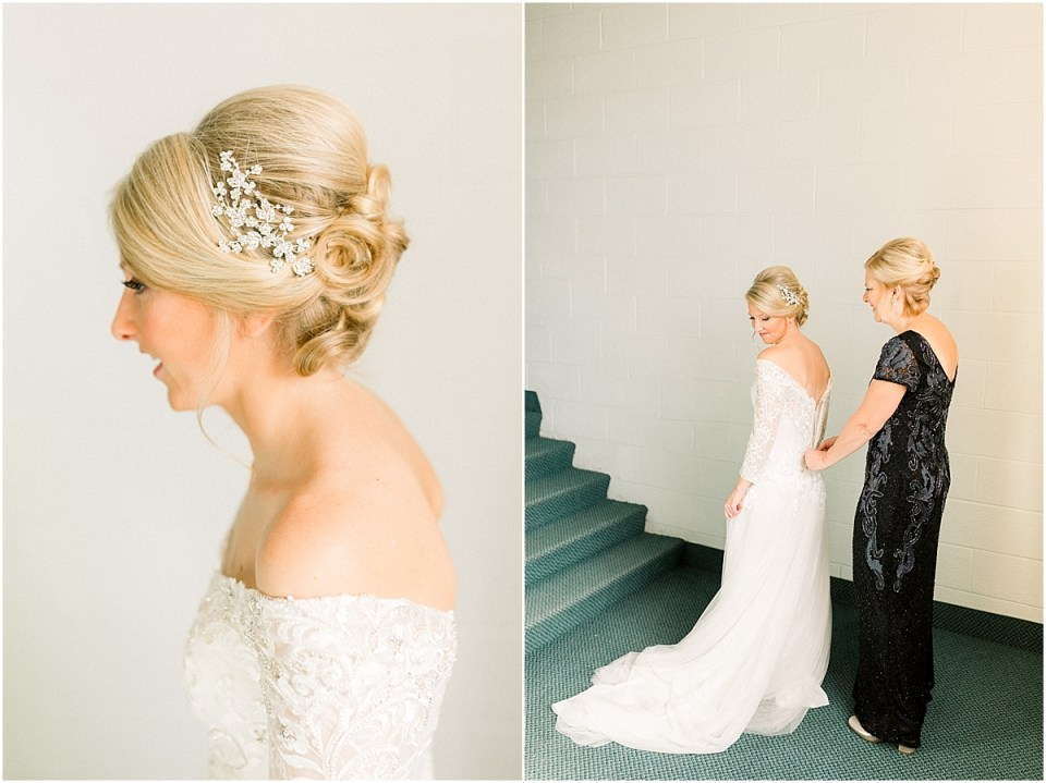 Arielle Peters Photography | Mother of the bride zipping up the bride's wedding dress on her fall wedding day.