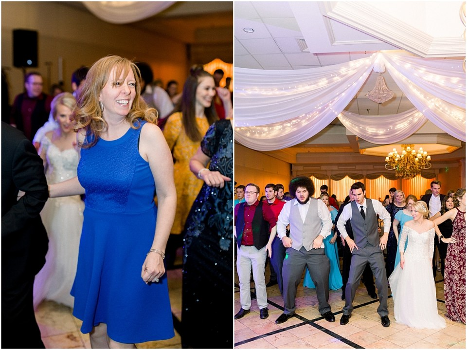 Arielle Peters Photography | Bride and groom line dancing with guests at fall wedding reception.
