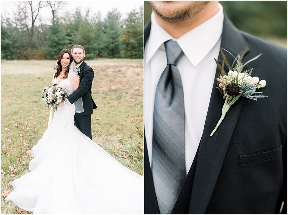 Arielle Peters Photography | Bride and Groom in field on wedding day.