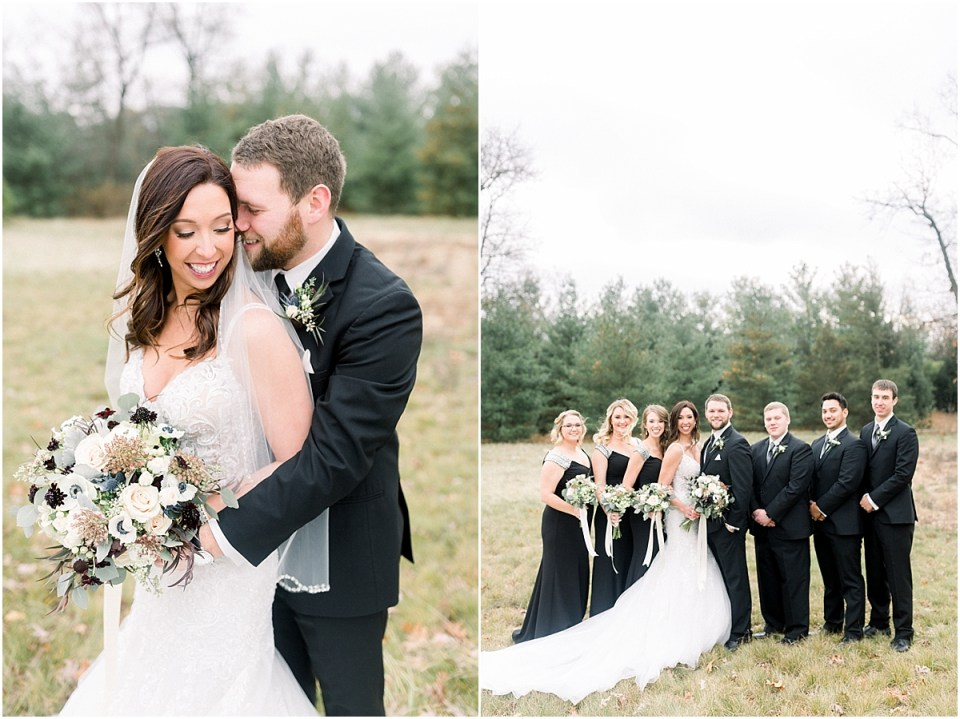 Arielle Peters Photography | Bride and Groom with wedding party in field on wedding day.