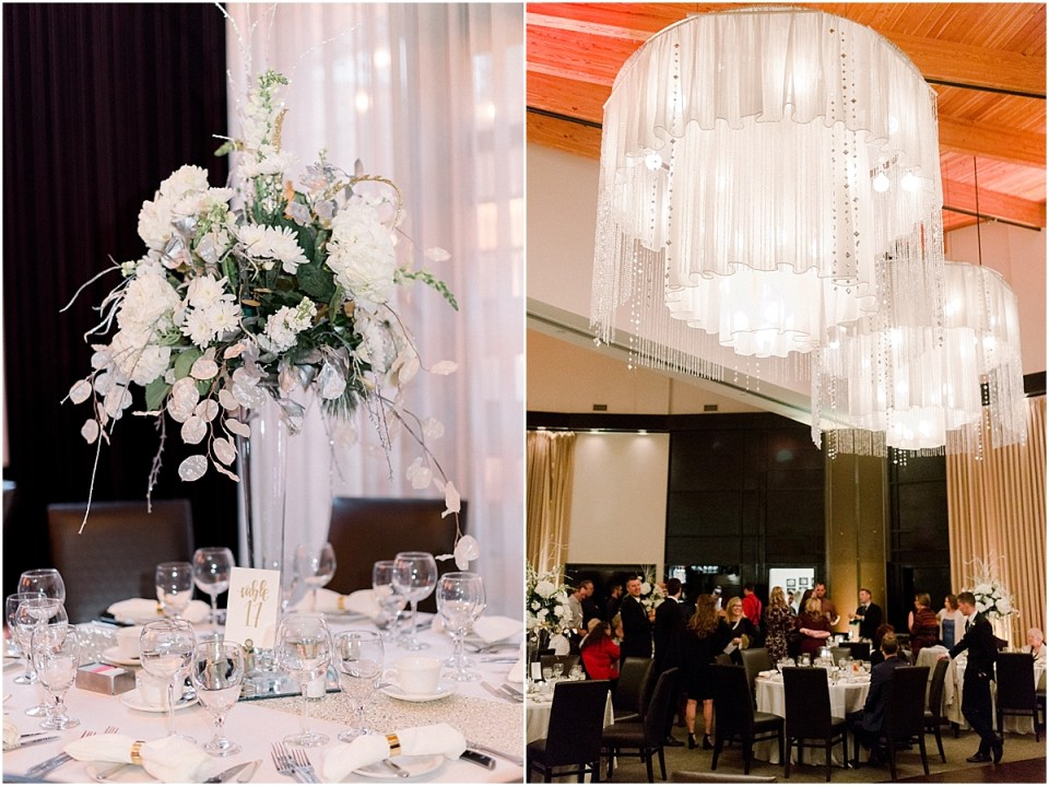 Arielle Peters Photography | Wedding centerpieces and chandeliers in reception hall.