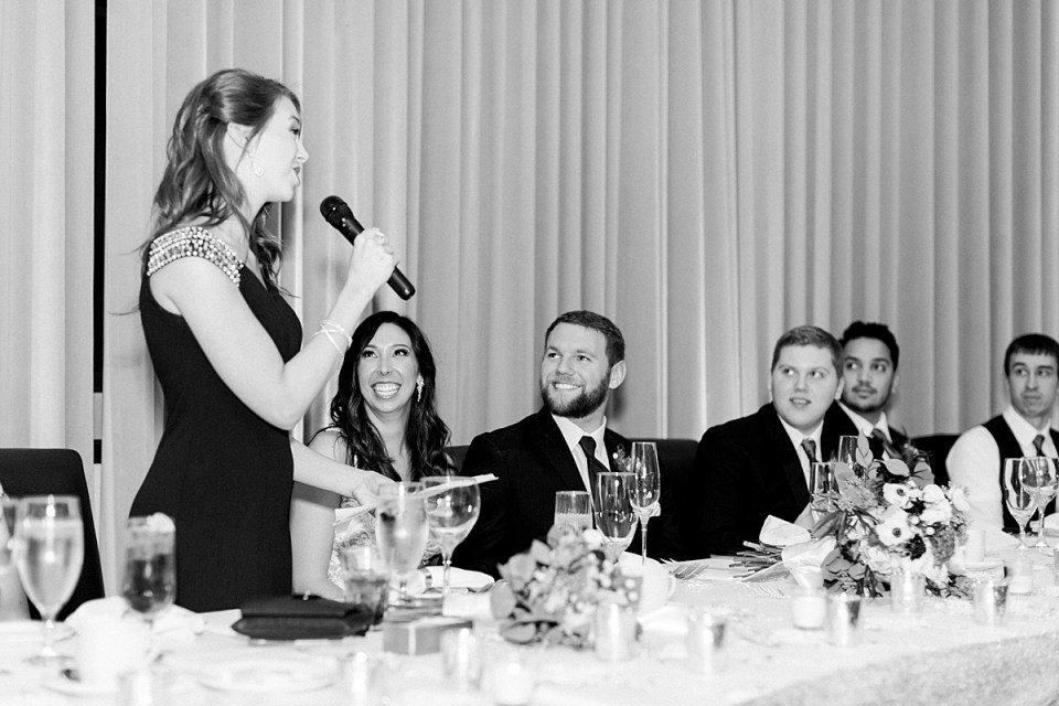 Arielle Peters Photography | Maid of honor giving speech and bride and groom laughing during wedding reception.