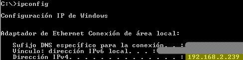 Ip de la maquina Windows