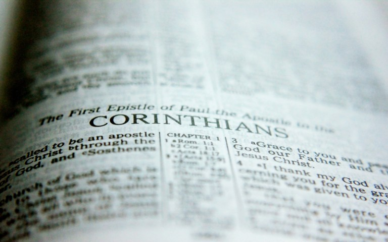 Bible opened at 1 Corinthians