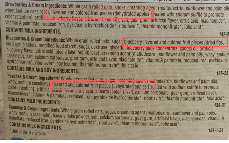 Quaker oatmeal's fake fruit ingredients