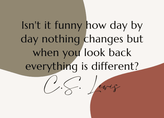 """""""Isn't it funny how day by day nothing changes but when you look back everything is different."""" C.S. Lewis"""