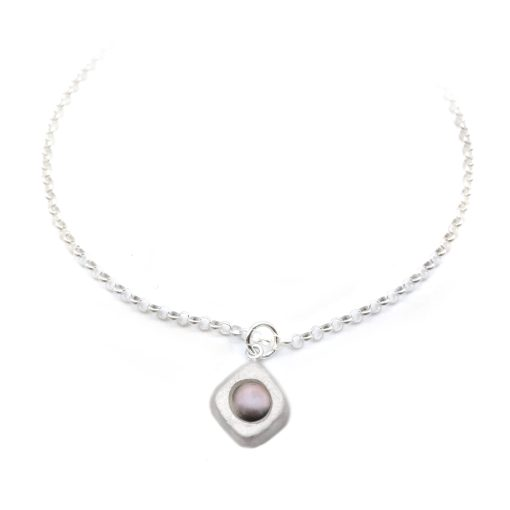 Diamond Peacock Silver Pearl Necklace