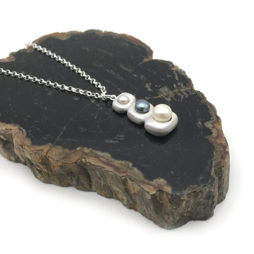 Stacked Silver Pearl Necklace