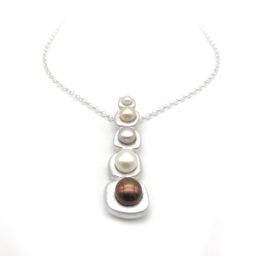 Waterfall Design Silver Pearl Necklace