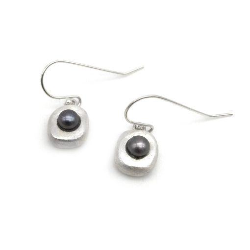 Peacock Silver Pearl Earrings