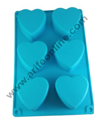 Cake Decor Silicon 6 in 1 Heart Shape Muffin Cupcake Mould