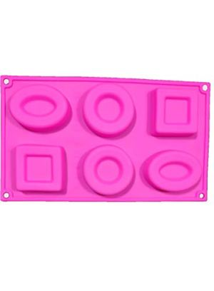 Cake Decor Silicon 6 Cavity,Square,Circle and Oval Non Sticky Mold for soap,Chocolate, Fondant Sugar bakeware Mold