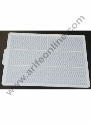 Cake Decor Silicon 6 in 1 Rectangle Wave Shape Chocolate Garnishing Mould Cake Insert Decoration Mould