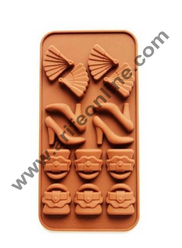 Cake Decor Silicon 14 Cavity Purse Sandal Fan Design Brown Chocolate Mould, Ice Mould, Chocolate Decorating Mould 1